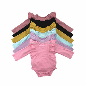 NO MOQ RTS Wholesale Baby Clothes Newborn Romper Long Sleeves Plain Blank Baby Bodysuit