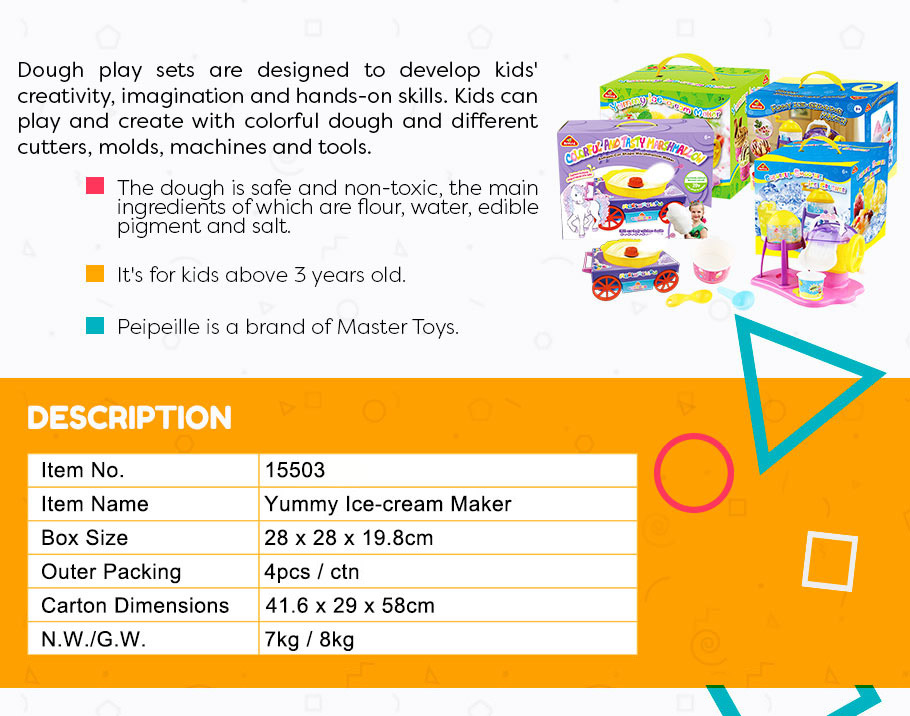 Yummy Ice-cream Maker EN 71&ASTM 2018 hot sale educational toys for kids play dough