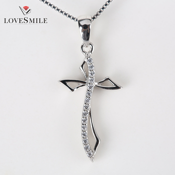 New arrival wholesales light sterling sliver pendant customized silver diamond unisex cross pendant