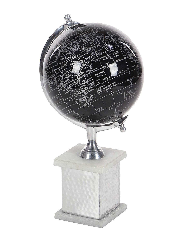 """Deco 79 57371 Aluminum, Marble and PVC Decorative Globe, 17"""" x 8"""", Black/Silver/White"""