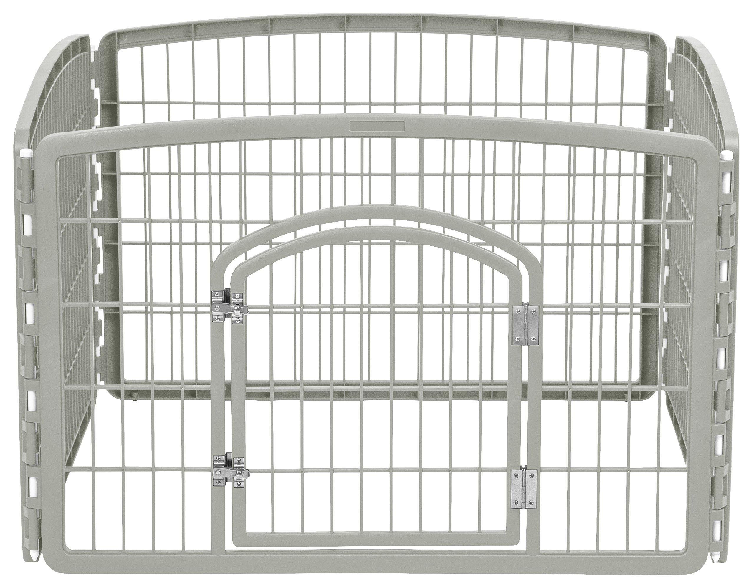 IRIS 24'' Exercise 4-Panel Pet Playpen with Door, Chrome