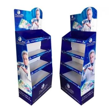 Customized 3/4 shelf pop up display stand,floor standing cardboard shelf display stand