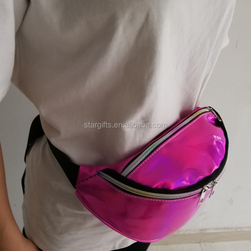 Various Color Eco-friendly Water Resistant PU Personality Hologram Waist Pouch