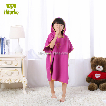 BSCI suzhou supplier kids poncho towel with compact and lightweight