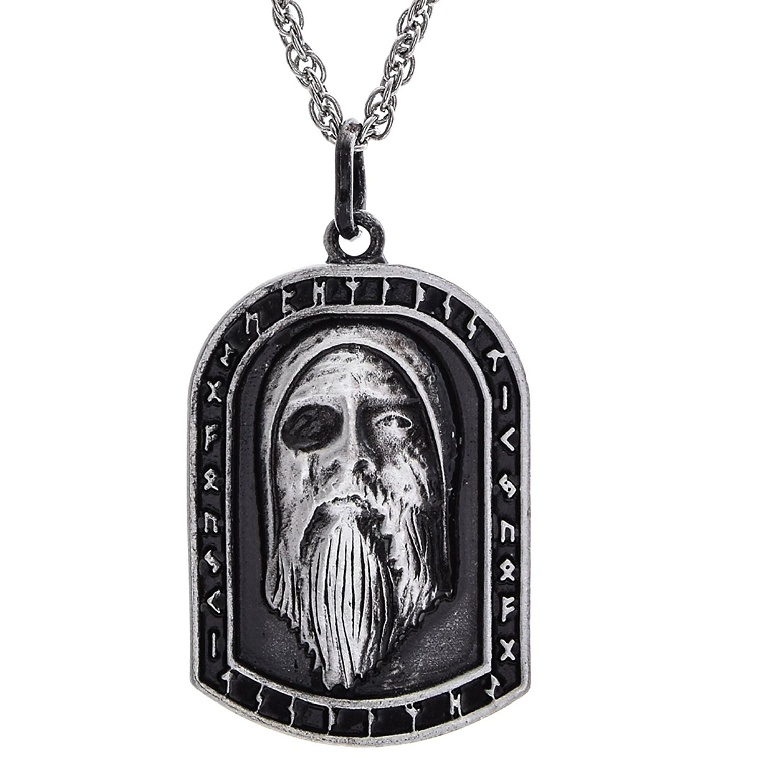 W WOOGGE Men's Necklace Viking Jewelry Norse Amulet Helm Of Awe Raven Skull Pendant Gothic Necklace for Women Men