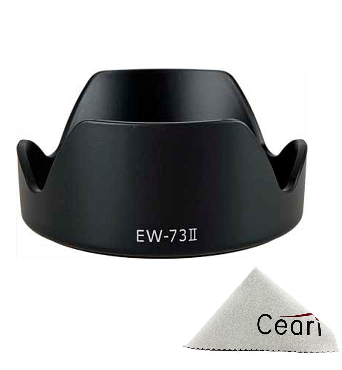 CEARI Dedicated Petal Replacement EW-73 II Bayonet Lens Hood for Canon EF 24-85mm F/3.5-4.5 USM Lens + CEARI MicroFiber Clean Cloth
