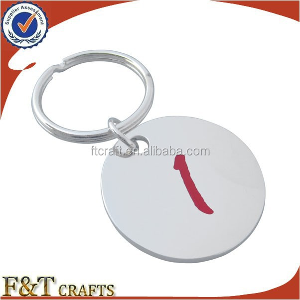 round shape metal cheap silver plated sublimation keychain