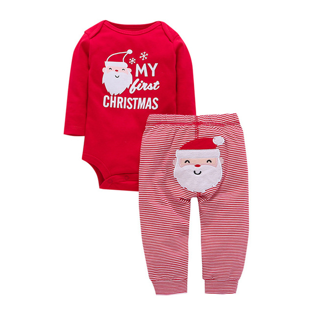 27ca3211c PA012 2-piece 'MY FIRST CHRISTMAS' Long Sleeve Bodysuit and Stripes Pants  Set
