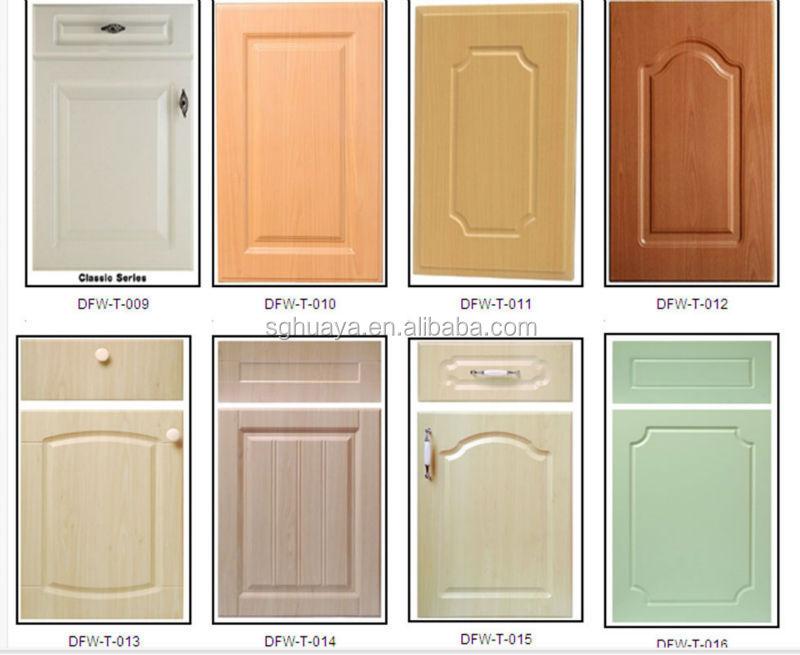 Pvc Thermofoil Kitchen Cabinet Door Wood Grain Color