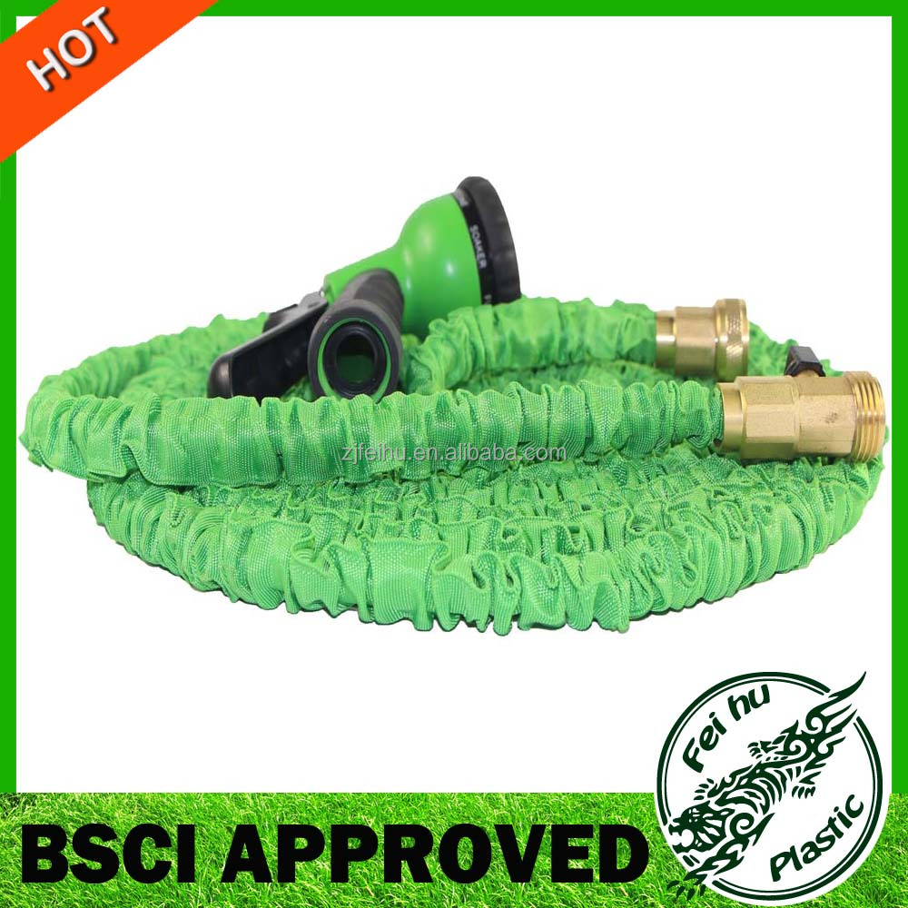 50 Foot Expandable Hose with Solid Brass Ends Best Expanding Garden Hose Kink & Tangle Free Double Latex Reinforced Core