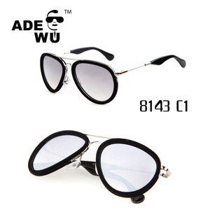 ADE WU Italy Designed Metal Velvet Frame Pilot Sunglasses UV400 Sunglasses