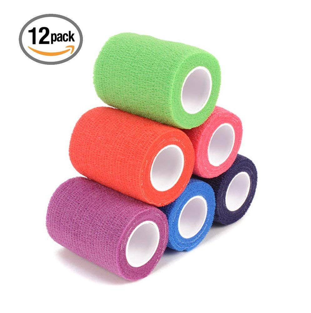 """Raindow Color Assorted 12-Pack, 2"""" x 5 Yards, Self-Adherent Cohesive Tape, Strong Sports Tape for Wrist, Ankle Sprains & Swelling, Self-Adhesive Bandage Rolls"""