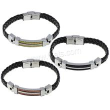 Silicone Stainless Steel Bracelets, with Silicone, plated, braided bracelet, more colors for choice, 9mm