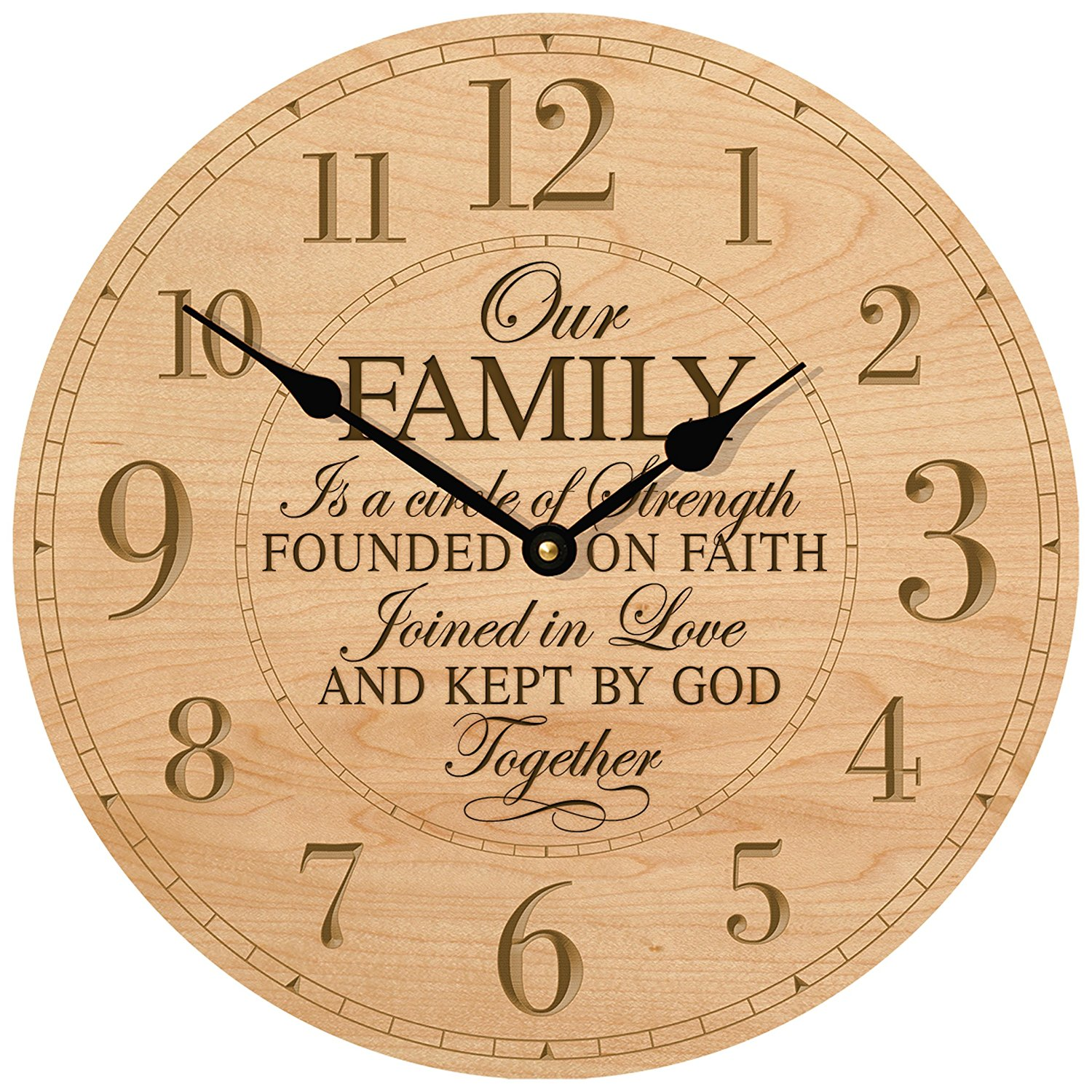 """Wedding Anniversary Gifts for parents Modern Decorative Desk or Wall Clock Housewarming Anniversary Gift ideas for Couple Our Family is a circle of Strength 12""""x12"""" By Dayspring Milestones (Maple)"""
