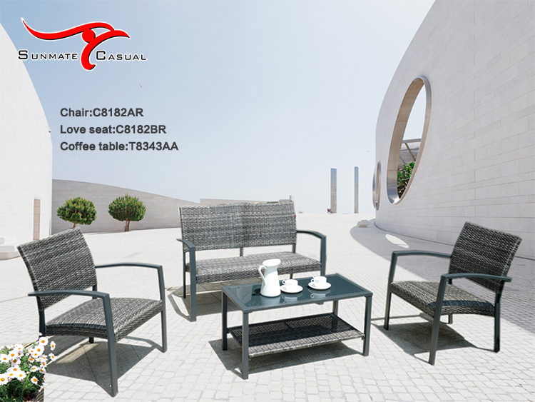 Outdoor Patio Balcony Rattan Wicker Furniture Tea Table and Chairs Set Coffee Table Design