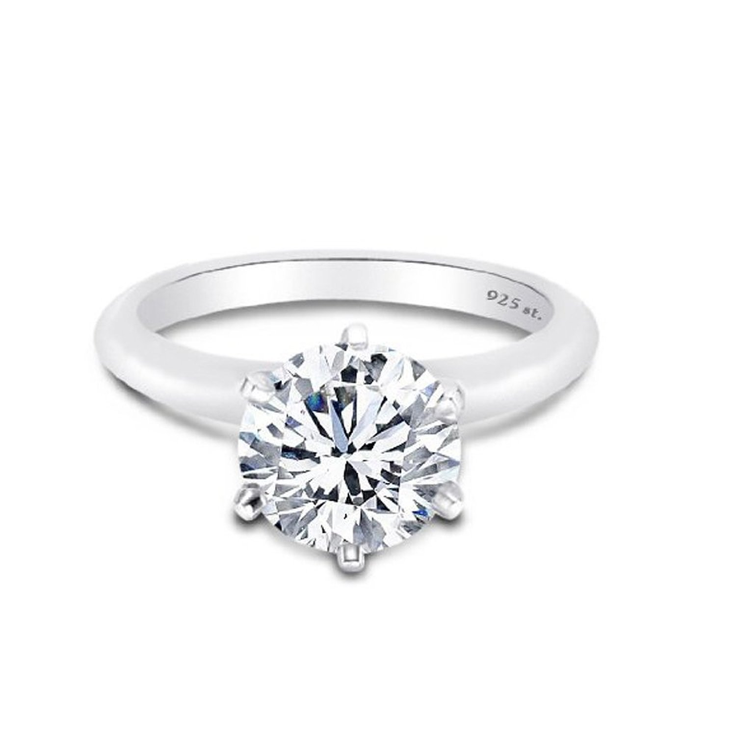925 Sterling Silver Solitaire Ring 6 Prong Setting Designer 2 Carat Cubic Zirconia Rings 8
