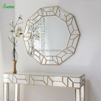 glass circle mirror from india gold line home interior ethnic buy
