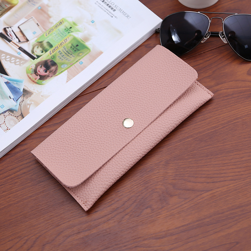 Custom New Trend China Wholesale Thin Wallet Leather Solid Pure Color long Gift Magnetic Buckle Lady Wallet
