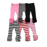 mjy-30 bulk buy from china Ruffle Pants For Toddler Girl Wholesale Children's Boutique Clothing Baby stripes Icing Legging