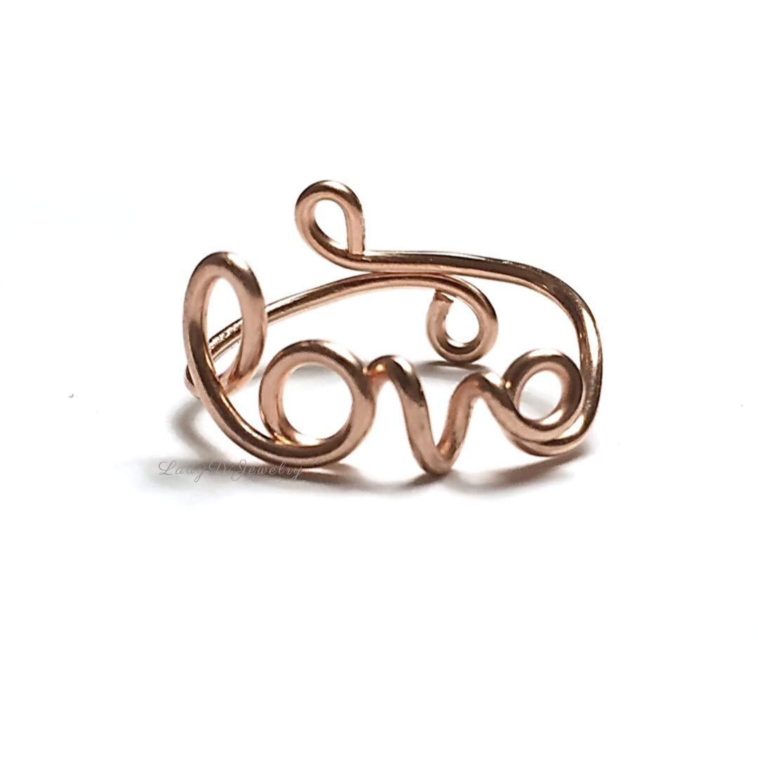 feca6537ba Get Quotations · Love Ring - Script/Cursive Love -14K Gold/Rose Gold-Filled/