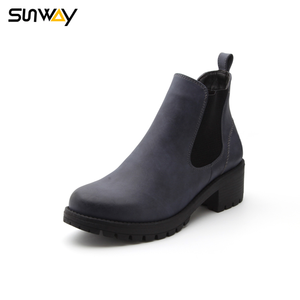 SUNWAY Wholesale TPR Double Gussets Outsole Navy Elastic PU Upper Women Ankle Boots Shoes