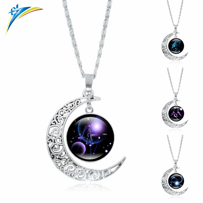 Fashion Zodiac Pendant Necklace Glass Cabochon Antique Necklace