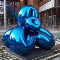 Modern garden outdoor art stainless steel sculpture of a flower balloon