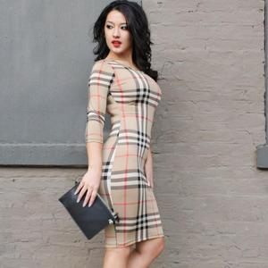 2018 New Style Spring Autumn Fashion Women Tight One-piece Dress Long Sleeve Tartan Bodycon Dress