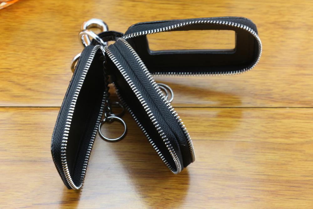Custom double-deck car key pouch leather Litchi Pattern key wallets genuine leather smart key holder