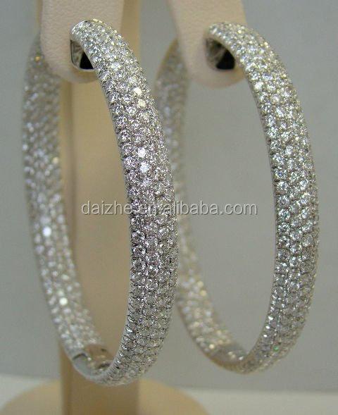 2017 high quality fashion bling hip hop micro pave Full diamond cz sparking big hoop circle earring