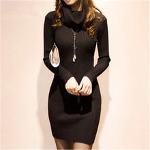 Women font b Winter b font New Knit Dress 2016 Autumn Women s Vestidos Turtleneck Sweater