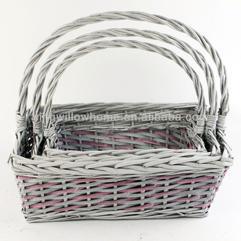 Eco friendly rectangular wicker storage  basket for sundrises