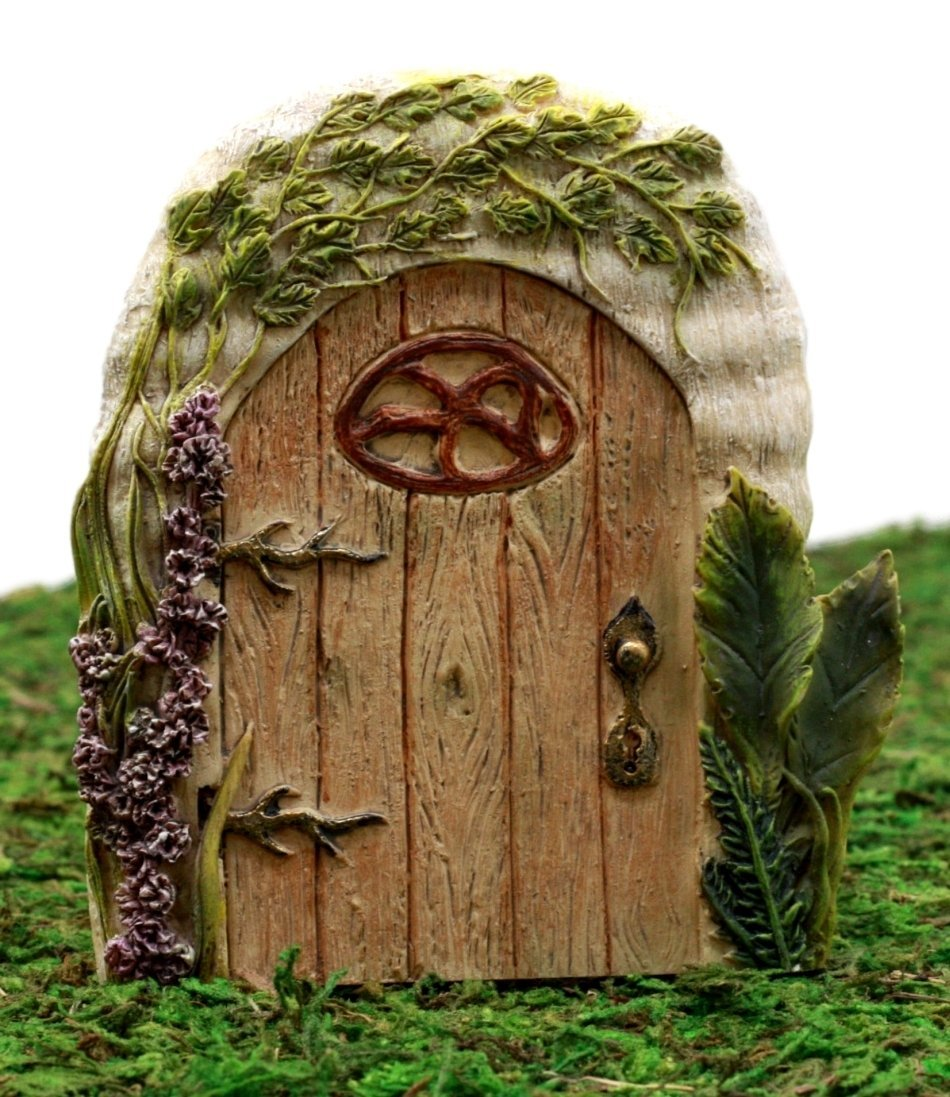 "Ebros Gift Enchanted Fairy Garden Miniature Lavender Oak Tree House Door Figurine 4""H Do It Yourself Ideas For Your Home"