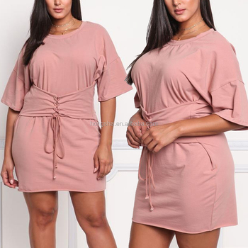 66718c69ce06f Chic And Edgy Plus Size Lace Up Corset Tee Shirt Dress For Big Fat Ass Women