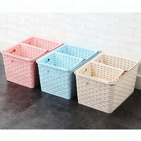 Simple storage bins box storage tote weave basket plastic rattan wicker storage basket