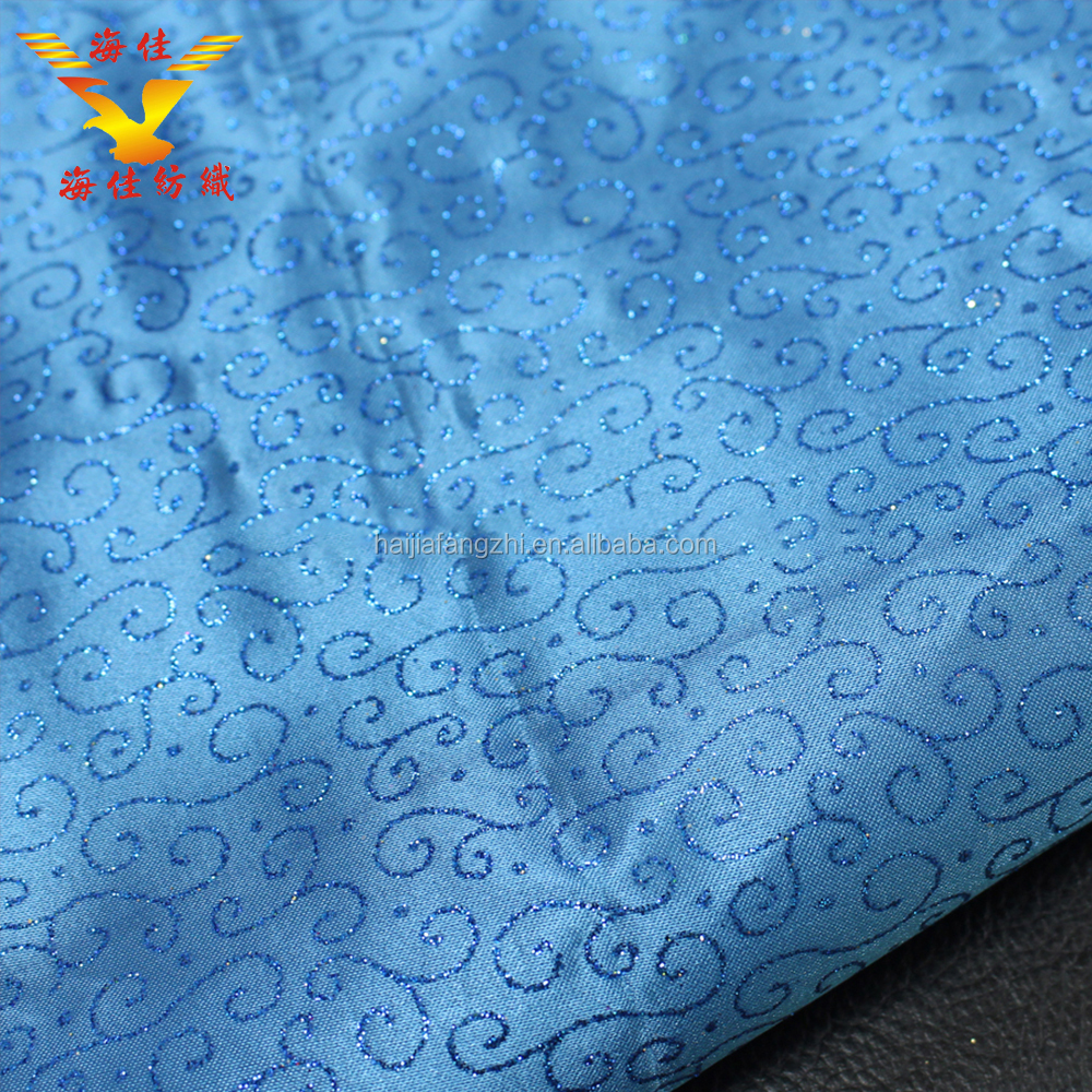 New design blue embroidered floral printed thick satin fabric for dresses decorative