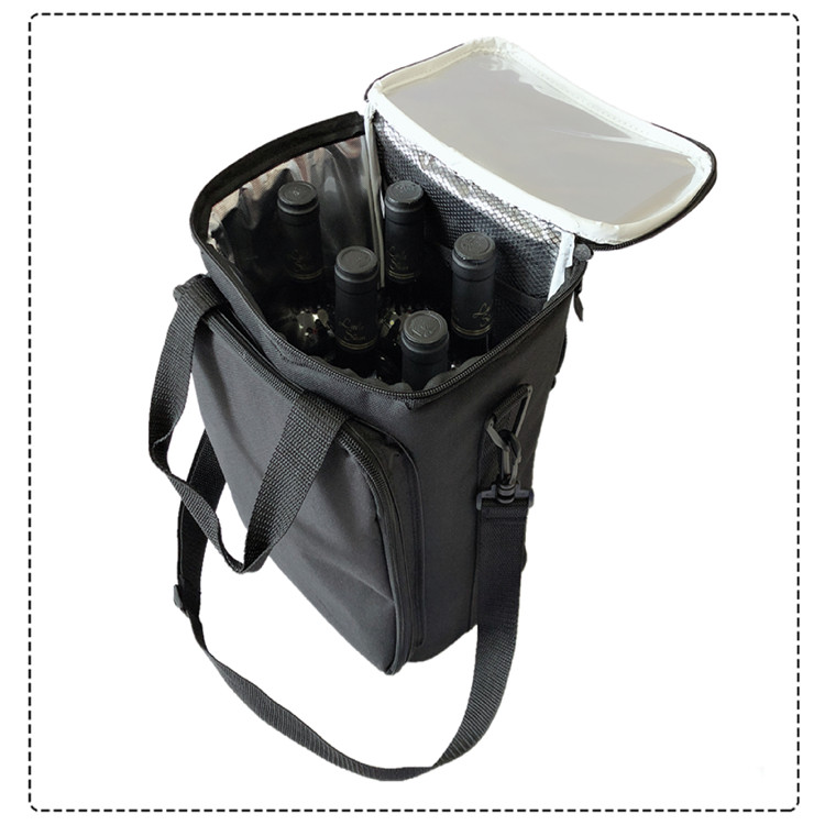 Osgoodway OEM Logo 600D Polyester Waterproof Insulated 5 Bottles Wine Cooler Bag for Outdoor