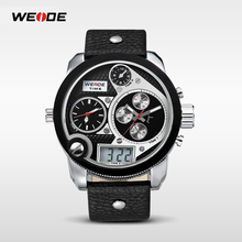 Casual Men's Watches Stylish Quartz 2 Time Zone Oversize Dial Men Watch
