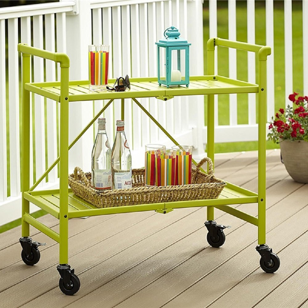 Rolling Serving Cart Wheels Outdoor Folding Portable Patio Indoor Home  Kitchen Furniture Bar Living Dining Room