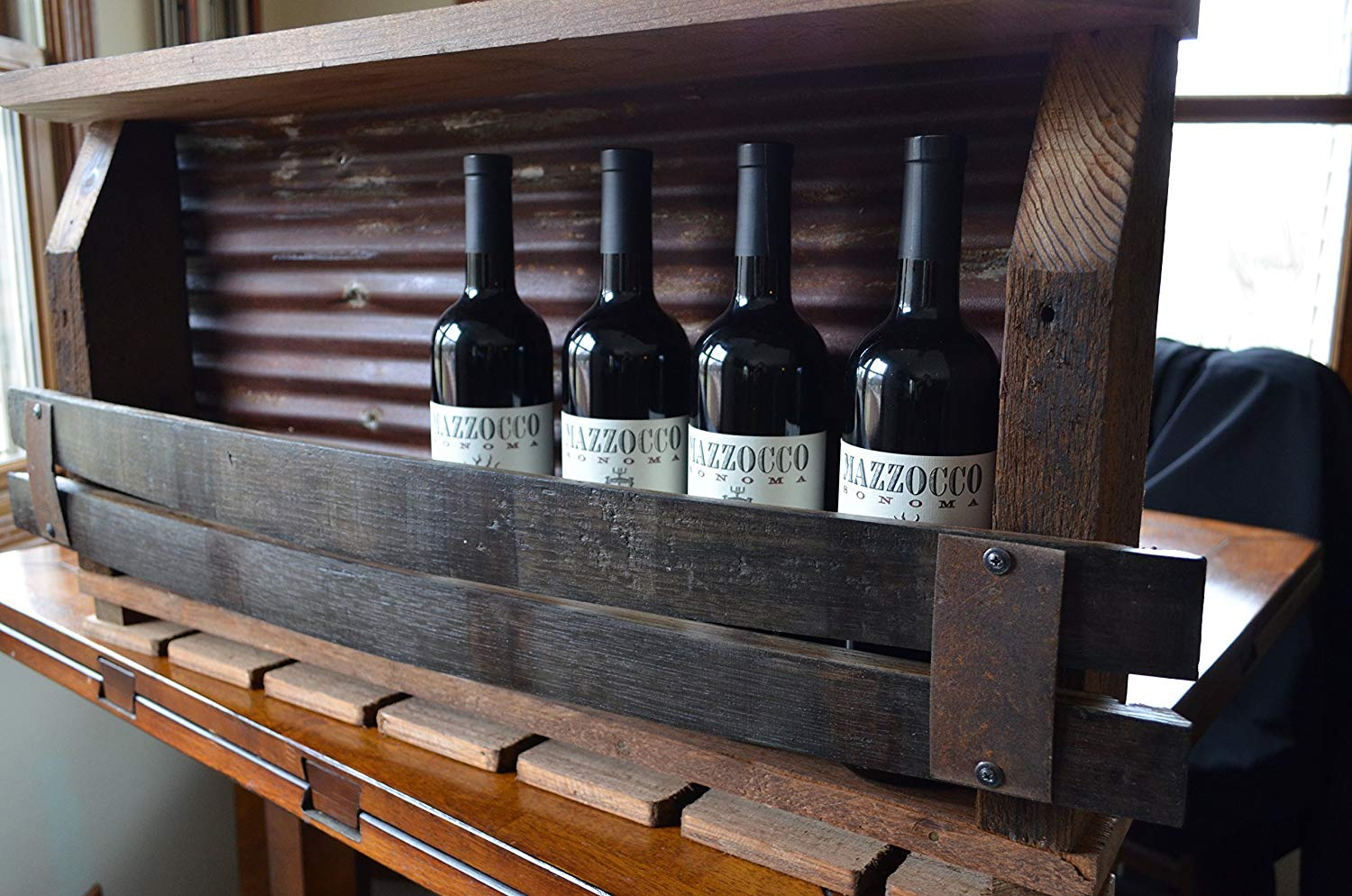 Barn wood Wine rack with Tin backing and Whiskey staves