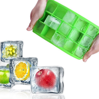 Premium Food Grade 8 Cavity 100% Food Grade Silicone FDA approved Square Shaped Ice Cube Tray With Lid