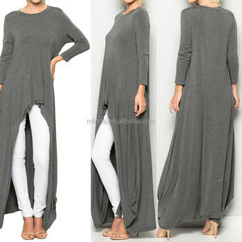 d732f24f Latest Blouse Designs 2017 Plain Long Sleeves Front Short Back Long Maxi  Tunic Top Latest Long