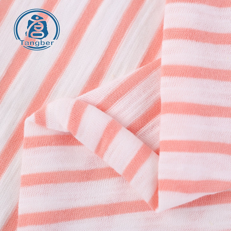 T Shirts Yarn Dyed Knit Single Jersey Slub Cotton Stripe Fabric
