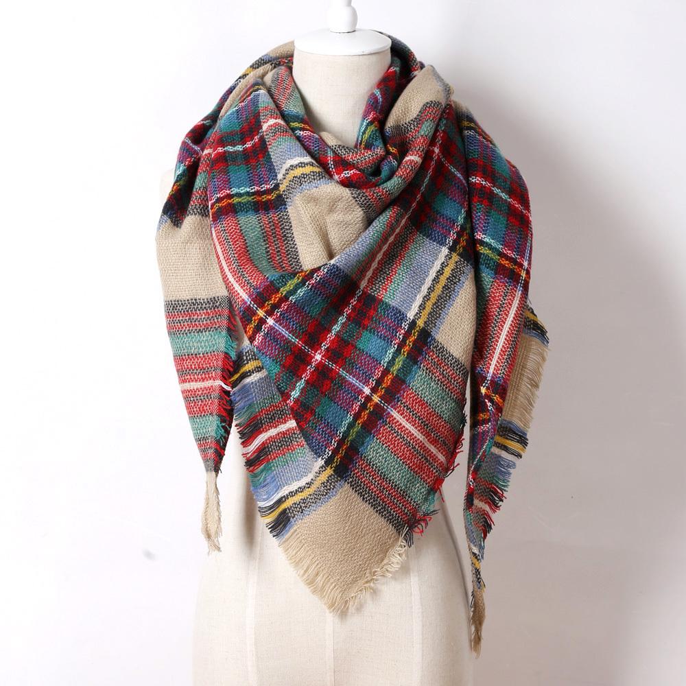 Tartan plaid scarf Item E size & fit. 80