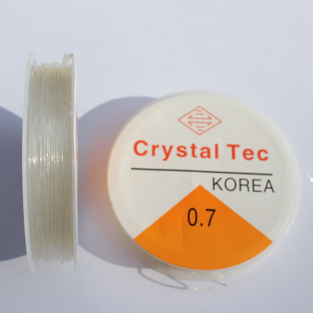 1 Roll 0.8mm Clear White Elastic Stretch Polyester Jewelry Bracelet Crystal String Cord