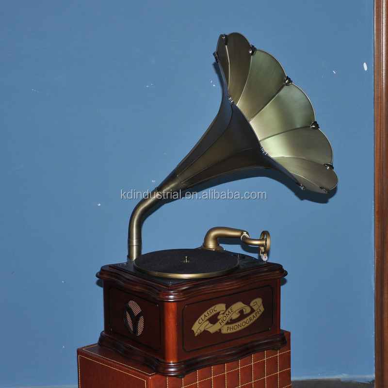 OEM retro wooden mini gramophone with brass gramophone horn