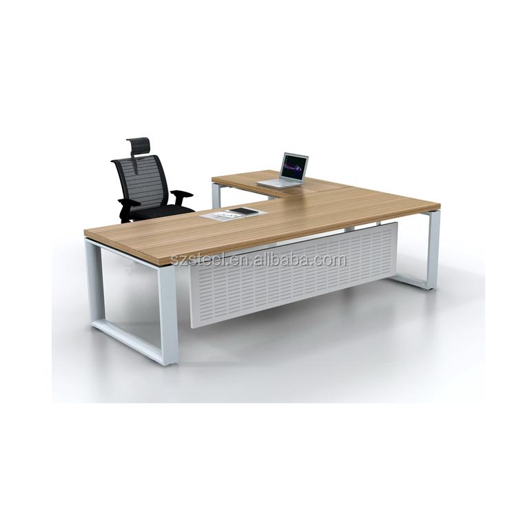 נפלאות MDF מודרני משרד שולחן מנהל/שולחן עבודה בוס שולחן מנהלים צבע לבן LR-15