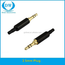 3.5 gold - plated DIY audio welding head with 3.5 mm earphone plug section 4 wheat belt clamp gun color stereo