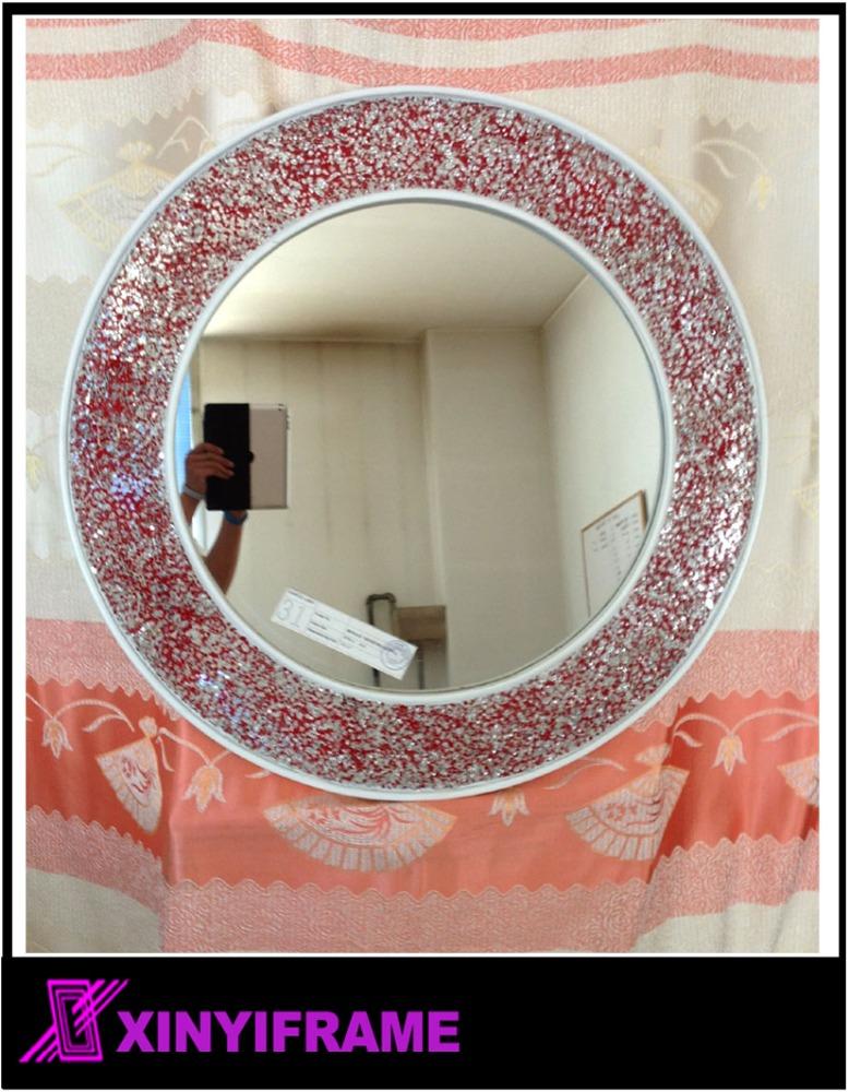 Rojo mosaico de vidrio espejo de pared redondo pared del for Pared de espejo precio