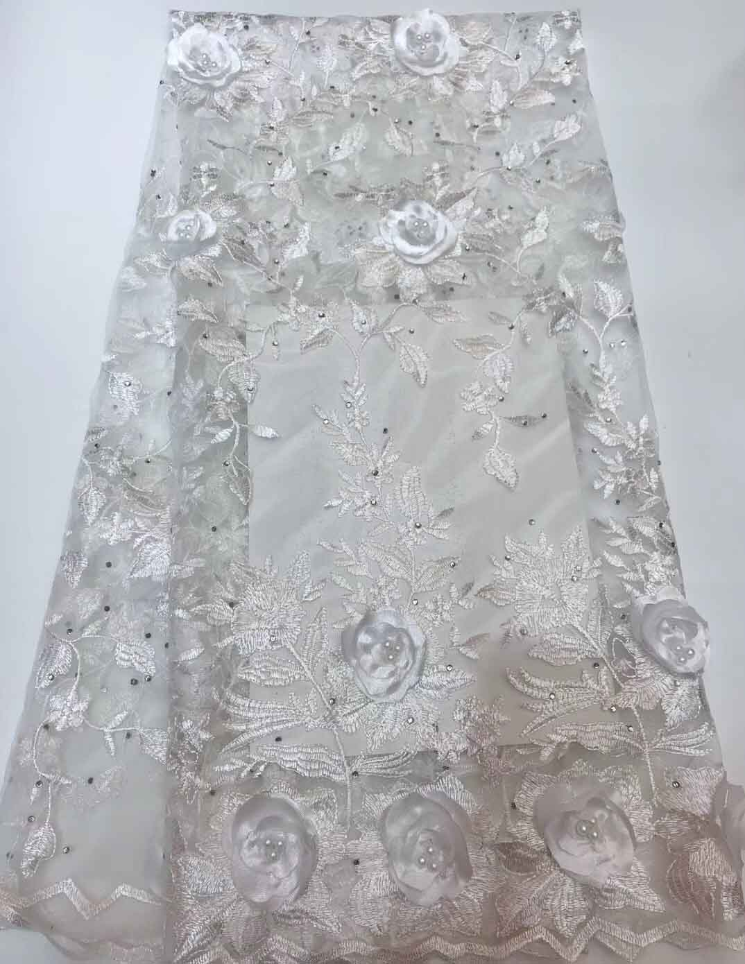 Realistic White African Lace Fabric With Beads 2018 Stones French Appliqued Lace Fabric For Wedding Dress Bridal Nigerian Lace Fabric Beautiful And Charming Lace Home & Garden